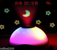 7 Colors LED Change Night Light Magic Projector Backlight Alarm Clock Timer Gift