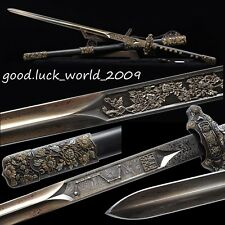 Rare Boutique Chinese Longquan Sword Pattern Steel Copper Fitting  Ebony Sheath