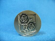 Vtg Style Brass & Wood Shield Roses Flowers Sealing Wax Stamp Seal