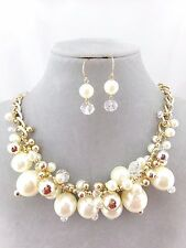 Cream Pearl Crystal Bead Cluster Necklace Earrings Set Gold Fashion Jewelry NEW