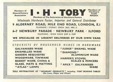 1953 I H Toby Hardware Importer Mile End Road Ad