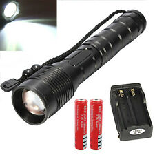 Police Tactical CREE XM-L T6 6000LM Rechargeable LED Flashlight +Battery+Charger