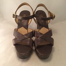 Michael Michael Kors Brown Leather Strappy Wedge - Women's size 6m - Great