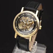 reloj mecánico de oro de lujo de los hombres de diseño esquelético de la moda
