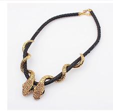 Hot Betsey Johnson Jewelry Pendant Women Rhinestone Snake Leather rope necklaces