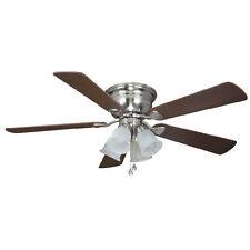 52-in Brushed Nickel Flush Mount Indoor Ceiling Fan with Light Kit Home Decor
