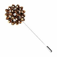 Copper Bead and Metal Lapel Flower Pin by The Accessorized Man