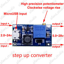 2A DC-DC Boost Step-up Conveter Adjustable Micro USB 2-24v to 5-28v 6v 12v 24v