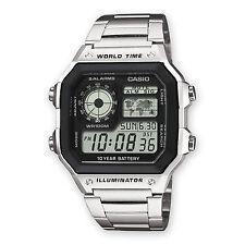 Orologio Casio AE-1200WHD-1 in alluminio vintage digitale fusi orari mondiali