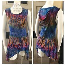 Size Large Hippie BoHo Tie Dye Asymmetrical Pixie Cut Tank Top Hooded Tunic L2