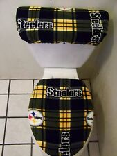 PITTSBURGH STEELERS PLAID FLEECE TOILET SEAT COVER SET
