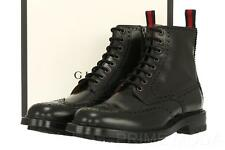 NEW GUCCI BLACK PERFORATED DETAIL WEB ANKLE LACE-UP BOOTS SHOES 7.5/US 8