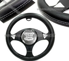 Car Black White Stitching Luxury Leather Stylish Steering Wheel Cover Glove