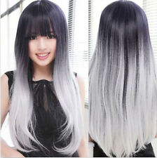 Fashion Women Heat Resistant Long Curly Hair Cosplay Costume Black White Wigs