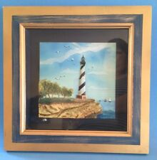 Arister Gifts Blue & Gold Shadow Box 3D Lighthouse on Cliff Beach Ocean Sea