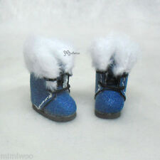 Middie Blythe Hujoo Baby BB Obitsu 11cm Doll Shoes Shiny Base Plushy Boots Blue