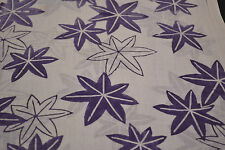 Japanese Yukata Fabric Cotton Purple and White Maple Leaves 899
