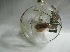 "Bird Cage Ornament Mercury Glass Bird Hanging in 5""Clear Glass Ball Christmas"