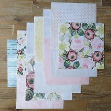 """12 Hojas 8x8"""" papel scrapbooking Rosa Rosa Vintage Negro Blanco De Lunares 120gsm"""