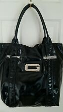 Authentic GUESS Women's Glossy Patent Leather Tote Shoulder Hand Bag, Black