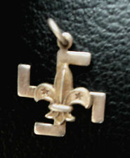 Vintage Boy Scout  Fylfot & Fleur De Lis Silver Thanks Badge -  c.1920
