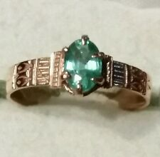 Estate .50ct Colombian Emerald 14k Rose Gold Band Ring