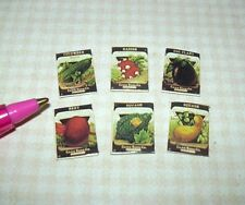 Miniature 6 Tiny VEGETABLE Seed Packages (SET B) for DOLLHOUSE Gardening 1/12