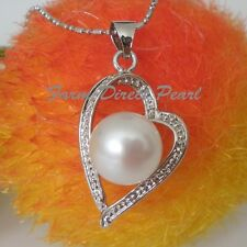 Huge 10.5mm Genuine White Pearl Pendant Necklace HEART Cultured Freshwater