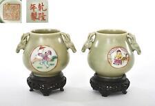 2 Old Chinese Celadon Famille Rose Porcelain Vase Figure Figurine Wood Stand Mk