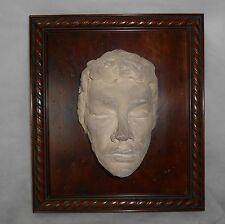 Modern High Relief Man Face Clay Art Sculpture with Wood Framed