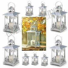 Lot Of 10 Silver Finish Scrollwork Candle Lanterns Wedding Centerpieces