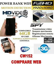 SPY Camera Spia WIFI + SD16 GB TELECAMERA MICRO  POWER BANK FULL HD MOTION CW152