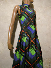 CHIC VINTAGE ROBE LONGUE 1970 VTG MAXI DRESS 70s MOD GRAPHIC ABITO KLEID (36)