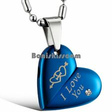 "Blue Stainless Steel "" I Love You "" Engraved Arrow Heart Pendant Womens Necklace"