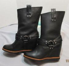 Skechers CHEEKY High Rider Boots Womens Black Leather Wedge Boots Pull On 8 NEW