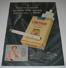 Magazine Print Ad 1954 CIGARETTE Old Gold Enjoy every benefit King Size.
