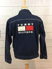Tommy Hilfiger Blue Jean Denim Jacket Mens Large Flag Patch Logo Spell Out