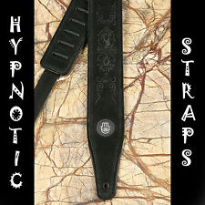 HYPNOTIC STRAPS BLACK TOOLED LEATHER SUEDE GUITAR, BASS ACOUSTIC STRAP PADDED