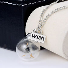 Fashion Women Real Dandelion Seeds Lucky Glass Wish Bottle Pendant Necklace