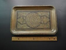 Vintage Antique Islamic Ottoman Persian Cairoware Copper Silver Tray Unsigned