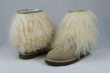 UGG CLASSIC SHORT CUFF MONGOLIAN SHEEPSKIN SAND BOOT WITH THE FUR! SIZE 5 US
