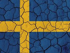PAINTING ABSTRACT FLAG CRACK CONCRETE SWEDEN SWEDISH BLUE YELLOW PRINT BMP10268