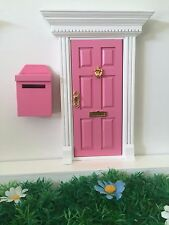Pink Wooden Fairy Door with Fairy Mail Post Box Magic Key and Fairy Dust