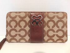 Coach Julia Op Art Signature Accordian Zip Around Wallet Khaki/Brown