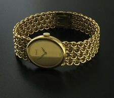 Piaget 18K Yellow Gold Luxury Fashion Watch - Heavy Woven Bracelet - Running