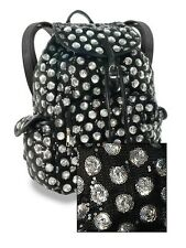 NEW HANDBAG EXPRESS BLACK+SILVER SEQUIN LEATHERETTE DRAWSTRING BACKPACK+DUST BAG