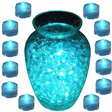 Submersible Water-proof Battery LED Tea Light ~ TEAL ~ 12 Pack WEDDING Décor