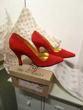 Women's Bruno Magli Madonna Shoes Pumps slides Suede Red Bologna Italy 6.5 36.5