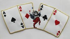 "#3578 XL 10-1/4"" Four Aces Poker Card,Joker Embroidery Iron On Applique Patch"