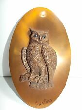 Vintage Copper Owl Art Artist Signed by Gastone Wall Plaque     I
